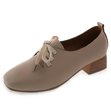 Žene PU Ljeto Udobne cipele Oksfordice Kockasta potpetica Trg Toe Crn / Bež