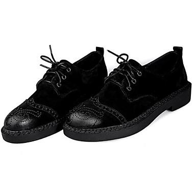 fermé 06797604 Café Noir Cuir Plat Jaune Croûte Talon Oxfords Printemps Femme Eté Chaussures de Bout Confort wPZqfZ