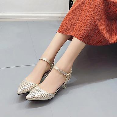 Tacón Sandalias Talón Puntiagudo Descubierto Dedo Kitten Mujer Plateado Zapatos PU Verano 06781698 Dorado xwq6XUYa