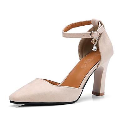 Women's Shoes Suede Spring & Heel Summer Comfort Heels Stiletto Heel & Square Toe Buckle Black / Beige / Pink 7cc364