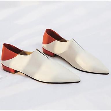 Nappa Noir fermé Cuir Ballerines Eté Blanc Talon Plat 06832644 Bout Chaussures Printemps Confort Femme vE7qx