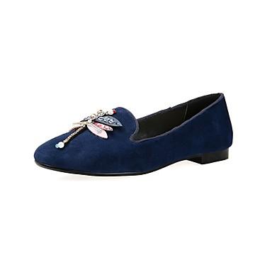 Bleu Ballerines minuit Noir de Talon Chaussures Ballerine Daim Eté Bas 06841454 Femme 6IxRfqw8W