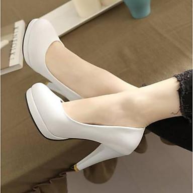 Žene Cipele PU Ljeto Udobne cipele Cipele na petu Kockasta potpetica Zatvorena Toe Crn / Bež / Pink