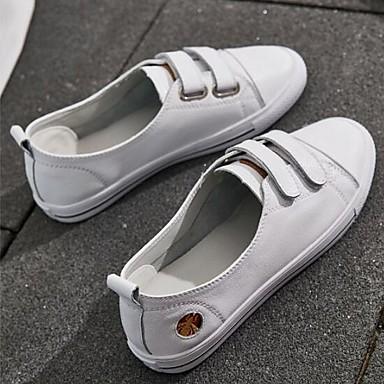 Talon Confort Bout Basket Nappa fermé Femme Plat 06832961 Chaussures Printemps Eté Cuir Blanc xqg0gzX