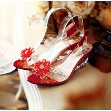 Amarillo Verano Tacón Sandalias Negro Zapatos Sintéticos Básico Confort Mujer 06837948 Rojo Pump Cuña pqa4vZn