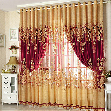 Blackout Curtains Drapes Living Room Floral 100% Polyester Jacquard