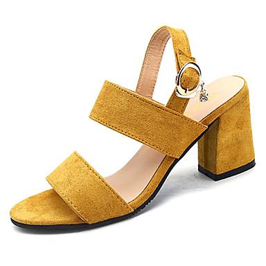 Žene Cipele PU Ljeto Remen oko gležnja Sandale Blok pete Otvoreno toe Crn / Bijela