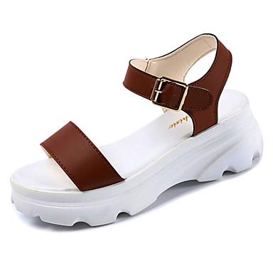 Zapatos PU Mujer Negro Verano Marrón Cuña Sandalias Talón 06780646 Descubierto Tacón Blanco 1aqqSdwAn