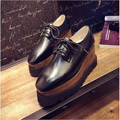 Nappa Printemps Cuir Eté Femme 06791990 Amande Confort Noir Blanc Oxfords Creepers Chaussures EOqnq6txp
