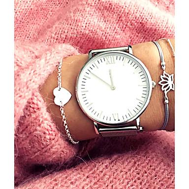 baratos Pulseira de Corrente-4pçs Mulheres Pulseiras em Correntes e Ligações Multi Camadas Coração Ancora senhoras Clássico Doce Fashion Cordão Pulseira de jóias Prata Para Diário Escritório e Carreira