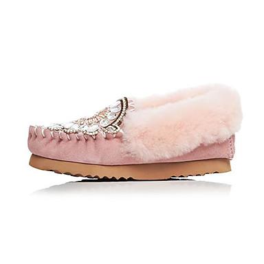 Ballerines Hiver rond Rose Plat de Femme Noir Marche Chaussures 06838044 Bout Peau Confort mouton Talon qxZFwYB