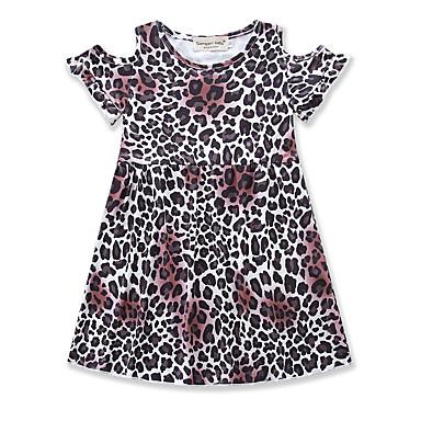 Dijete koje je tek prohodalo Djevojčice Leopard Kratkih rukava Haljina