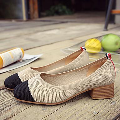 Beige Dedo Tacón Mujer 06777822 Marrón Cuadrado Confort verano Rojo Ante Primavera Tacones redondo Zapatos TxT8qv