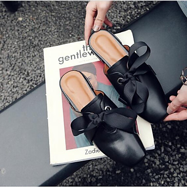 carré Sabot Eté Chaussures Noir Femme Heel Mules Bout Blanc amp; Cuir Block Nappa 06792557 Confort XSPttdBwq