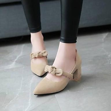 Žene Cipele Brušena koža Ljeto Udobne cipele Cipele na petu Kockasta potpetica Krakova Toe Crn / Bež / Bijela