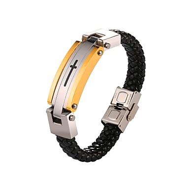 voordelige Herensieraden-Heren loom Bracelet Touw Kruis Modieus Roestvast staal Armband sieraden Goud Voor Lahja Dagelijks