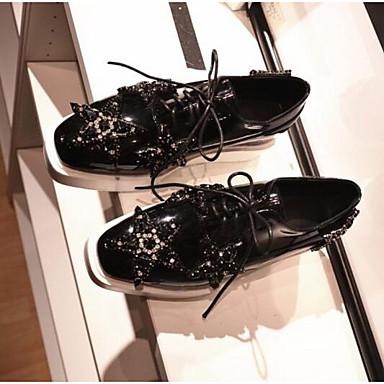 Cuir Printemps Noir Oxfords fermé Confort Bout Eté 06831447 Femme Nappa Creepers Chaussures U1q5p5
