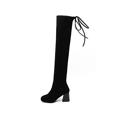 à Bottes Bottier rond 06796759 Soirée hiver Bout Bottes Matière amp; Noir Chaussures Mode synthétique Automne Femme Cuissarde Evénement la Talon xfwqgOCYHX