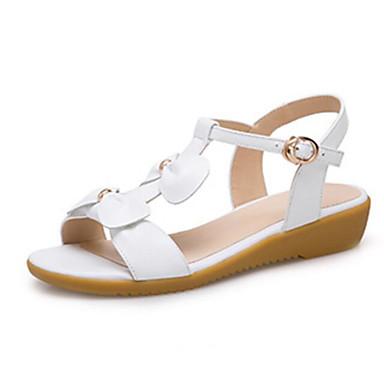 Cuir Confort Sandales Chaussures Femme Blanc 06794969 Plat Rose Talon Eté 45nqxaSx
