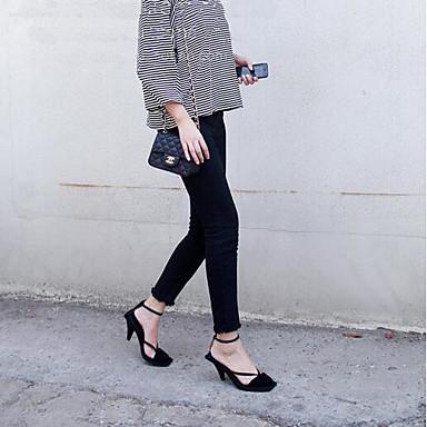Chaussures Femme Rose 06839618 Sandales Talon Printemps Daim Confort Aiguille Noir OqSx7AF