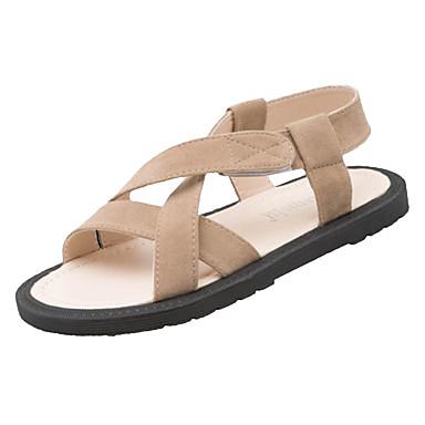 Žene PU Ljeto Udobne cipele Sandale Ravna potpetica Okrugli Toe Crn / Badem