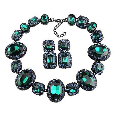 levne Dámské šperky-Dámské Křišťál High End Crystal Silný řetězec Duté Šperky Set Kytky, Blahoslavený Prohlášení, dámy, Luxus, Geometrik, Elegantní Zahrnout Peckové náušnice Obojkové náhrdelníky Prohlášení Náhrdelníky