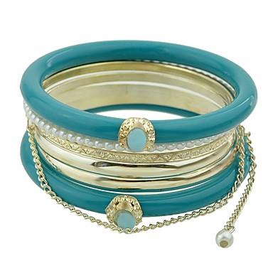 baratos Bangle-6pcs Mulheres Bracelete Corrente Grossa Por sorte senhoras Básico Fashion Liga Pulseira de jóias Preto / Laranja / Verde Para Diário Escola
