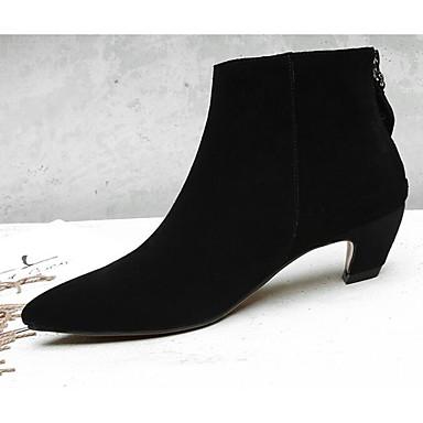 Botillons Bottine Brun Demi Bottes Confort claire Heel Automne mouton Chaussures 06840729 Gris Peau de Printemps Femme Kitten Botte amp; Noir w748qT