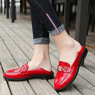 Negro Bajo Zapatos Blanco redondo Tacón Confort Rojo Zapatos On 06837473 Otoño PU Slip de Dedo bajo y taco Mujer 71AaqwZpWZ