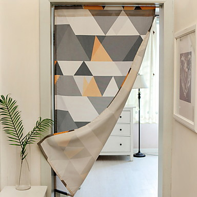 Door Panel Curtains Drapes Dining Room Geometric Polyester Printed