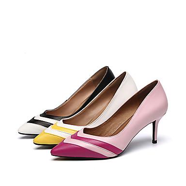 Tacón Mujer Dedo Stiletto Noche Amarillo Zapatos Puntiagudo PU Negro Básico y Rosa Tacones Verano Pump 06812846 Fiesta rrSwxYq