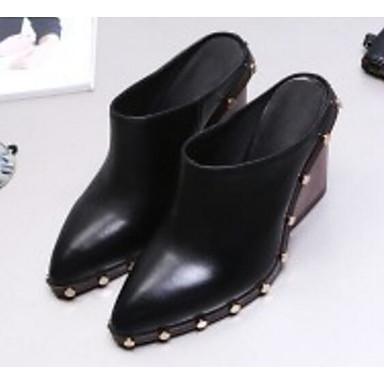 Žene Mekana koža Proljeće Udobne cipele Klompe i natikače Kockasta potpetica Crn