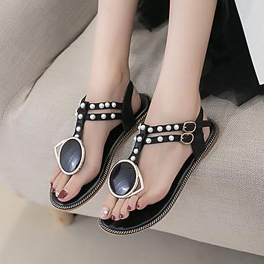 06777187 Plano Perla Negro Zapatos Descubierto Mujer Blanco de Tacón PU Verano Talón Sandalias Imitación xqFUR4wO6