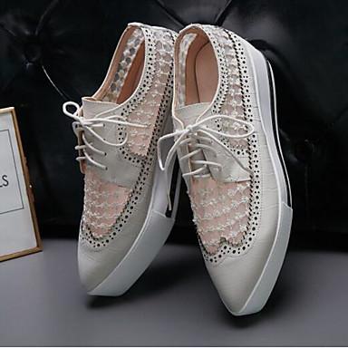 Creepers 06837602 Bout Chaussures Noir Nappa Cuir Printemps Blanc fermé Eté Oxfords Confort Femme c0pq78f7w