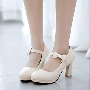 Žene Cipele PU Ljeto Udobne cipele Cipele na petu Kockasta potpetica Okrugli Toe Obala / Crn / Pink
