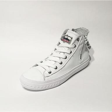 Printemps Chaussures Nappa Talon Confort Eté fermé Plat Bout Cuir 06832448 Blanc Noir Basket Femme tdqnwpBZt