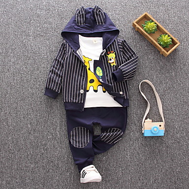 fa399bd171d Μωρό Αγορίστικα Καθημερινό Καθημερινά Ριγέ Μακρυμάνικο Κανονικό Βαμβάκι Σετ  Ρούχων Βαθυγάλαζο / Νήπιο