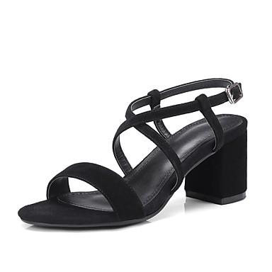 les sandales de printemps été de confort chaussures en en en daim noir / amande morceaux talon 3491bc