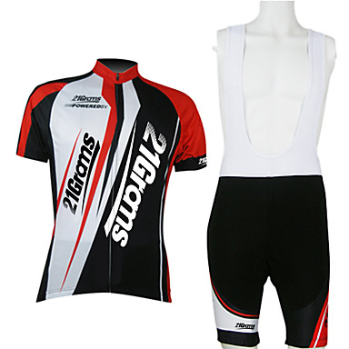 21Grams Men's Unisex Short Sleeve Cycling Jersey with Bib Shorts - Red / White Bike Clothing Suit Breathable Quick Dry Back Pocket Sports Polyester Mountain Bike MTB Road Bike Cycling Clothing Apparel
