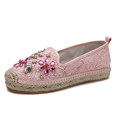 06848497 D6148 Maille Rose Blanc Femme et Talon Automne Confort Plat Mocassins Chaussures Chaussons TnqPw057x