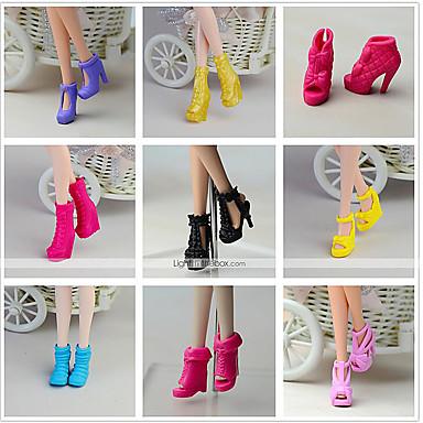 Prinzessin Schuhe Für Barbie-Puppe Schwarz PVC Schuhe Für Mädchen Puppe Spielzeug