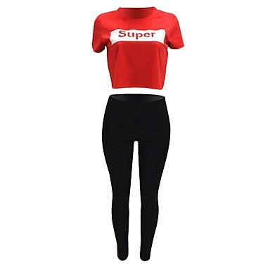 Tiro Alto Chándal Mujer Camiseta Letra Deportes De Traje Medias Yoga YeWHIED92