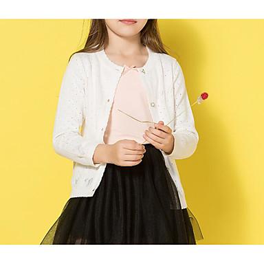 baratos Suéteres & Cardigans para Meninas-Infantil Para Meninas Básico Feriado Sólido Manga Longa Padrão Suéter & Cardigan Branco