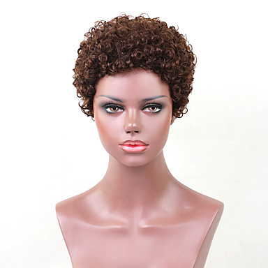 povoljno Perike i ekstenzije-Ljudski kose bez kaplama Ljudska kosa Kovrčav Kratke frizure 2019 Stil 4-8inch Machine Made Perika Žene