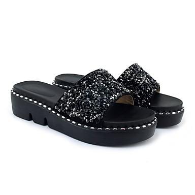 Chaussures Confort Tongs Eté Creepers Polyuréthane Femme Noir Chaussons amp; Argent 06856904 ZdqPZw
