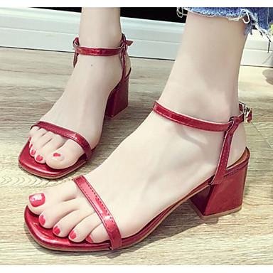Women's Comfort Shoes Shoes Comfort PU(Polyurethane) Spring & Summer Sandals Chunky Heel Black / Almond / Burgundy 7a7639