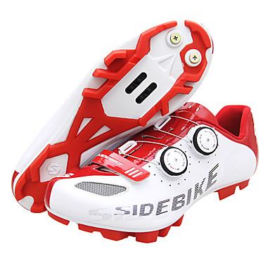 billige Sykkelsko-SIDEBIKE Mountain Bike-sko Karbonfiber Vanntett, Pustende, Anti-Skli Sykling Rød / Hvit Herre Sykkelsko / Demping / Ventilasjon / Demping / Ventilasjon