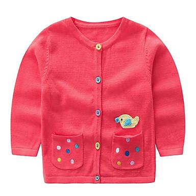 baratos Suéteres & Cardigans para Meninas-Bébé Para Meninas Básico Estampado Manga Longa Padrão Suéter & Cardigan Vermelho