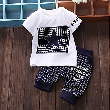 povoljno Odjeća za bebe Za dječake-Dijete Dječaci Osnovni Dnevno Kolaž Kolaž Kratkih rukava Regularna Pamuk Komplet odjeće Navy Plava / Dijete koje je tek prohodalo