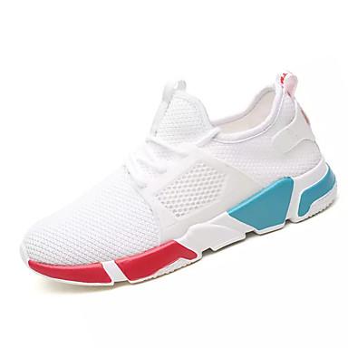 Men's Comfort Shoes Mesh / PU(Polyurethane) Fall Athletic Shoes White Running Shoes Color Block White Shoes / Black / Black / Gold efad0e